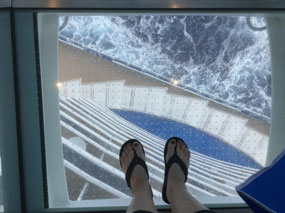 Looking down through the 'glass' floor on deck 16