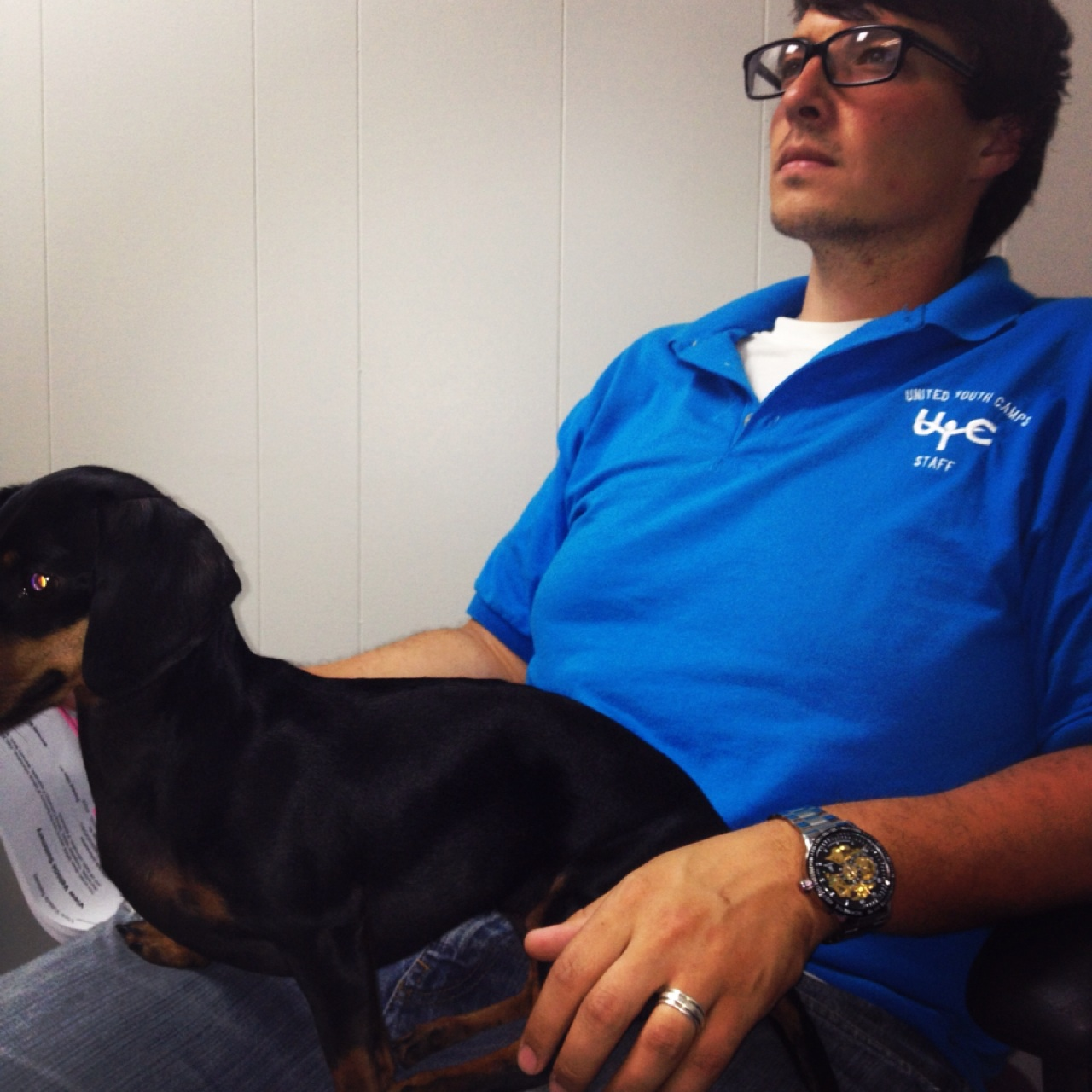 Dachshund love at a Chevy dealership