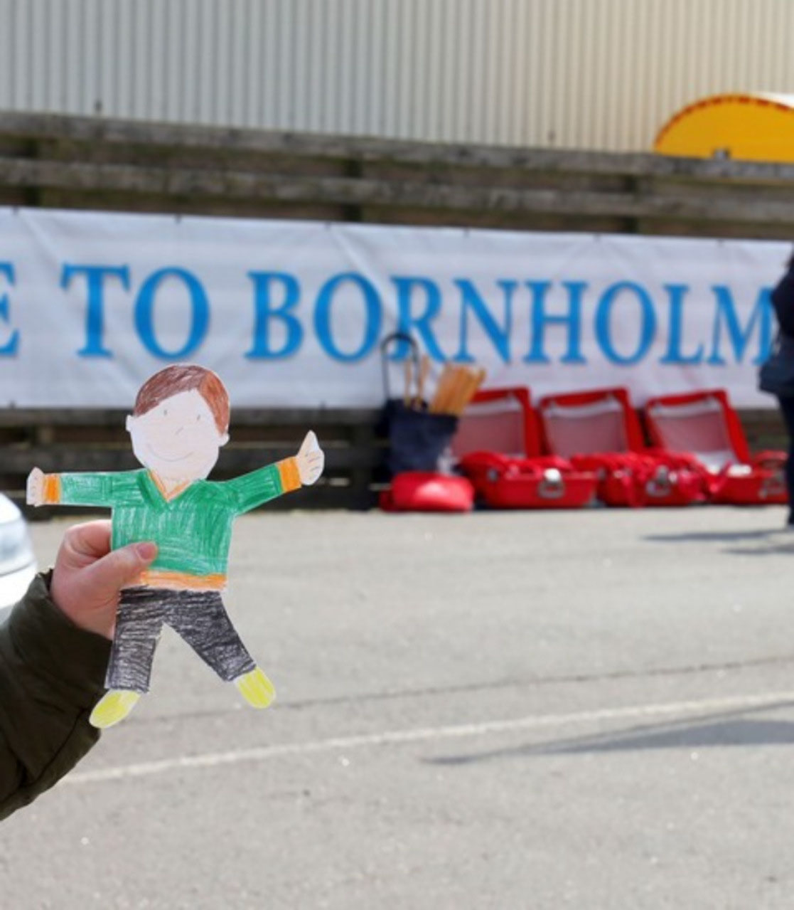 Flat Stanley welcoming everyone to Bornholm