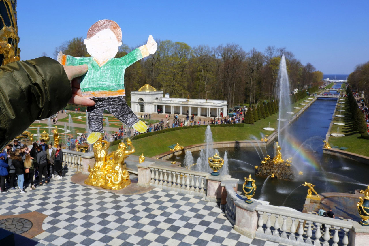 Flat Stanley on the Grand Palace terrace