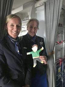 Flat Stanley and SAS flight attendants