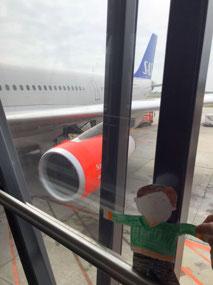 Flat Stanley getting off the plane in Copenhagen
