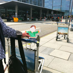Flat Stanley outside the Copenhagen airport