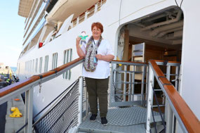 Flat Stanley and Mrs. Rickly boarding the ship