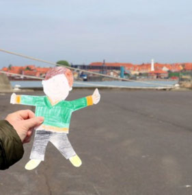 Flat Stanley at the dock in Rønne