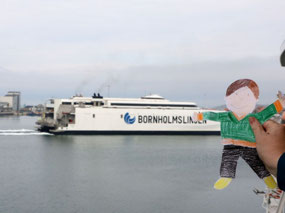 Flat Stanley watching the ferry come in