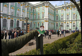Flat Stanley at the Hermitage not waiting in line
