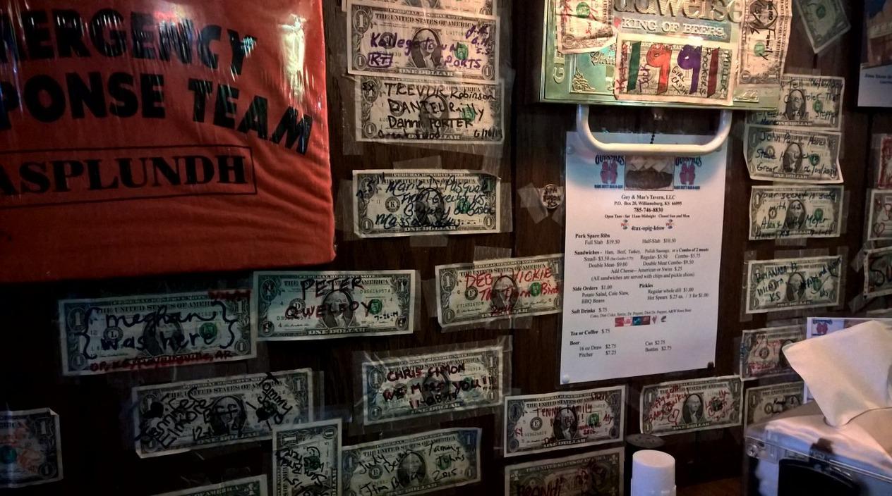 Dollar bills on the walls