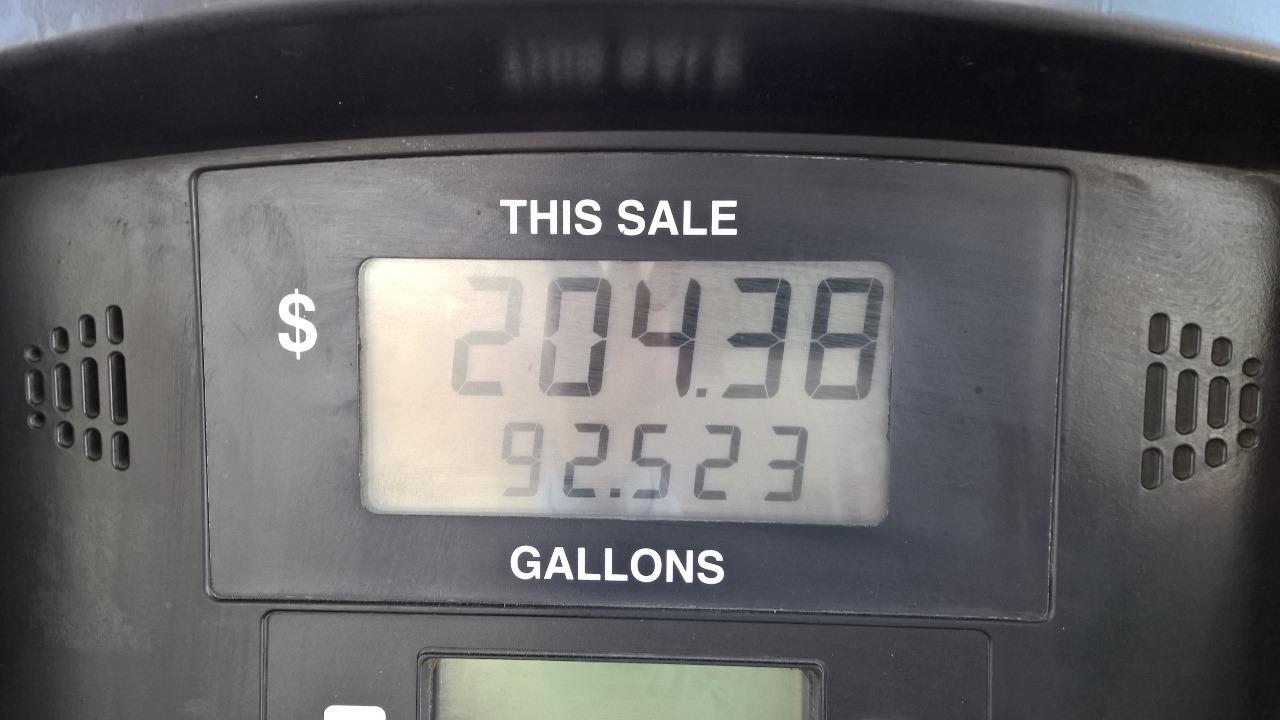 a little more than half a tank full