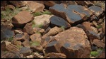 Varnished rocks closeup