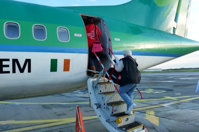 Boarding the plane at Shannon