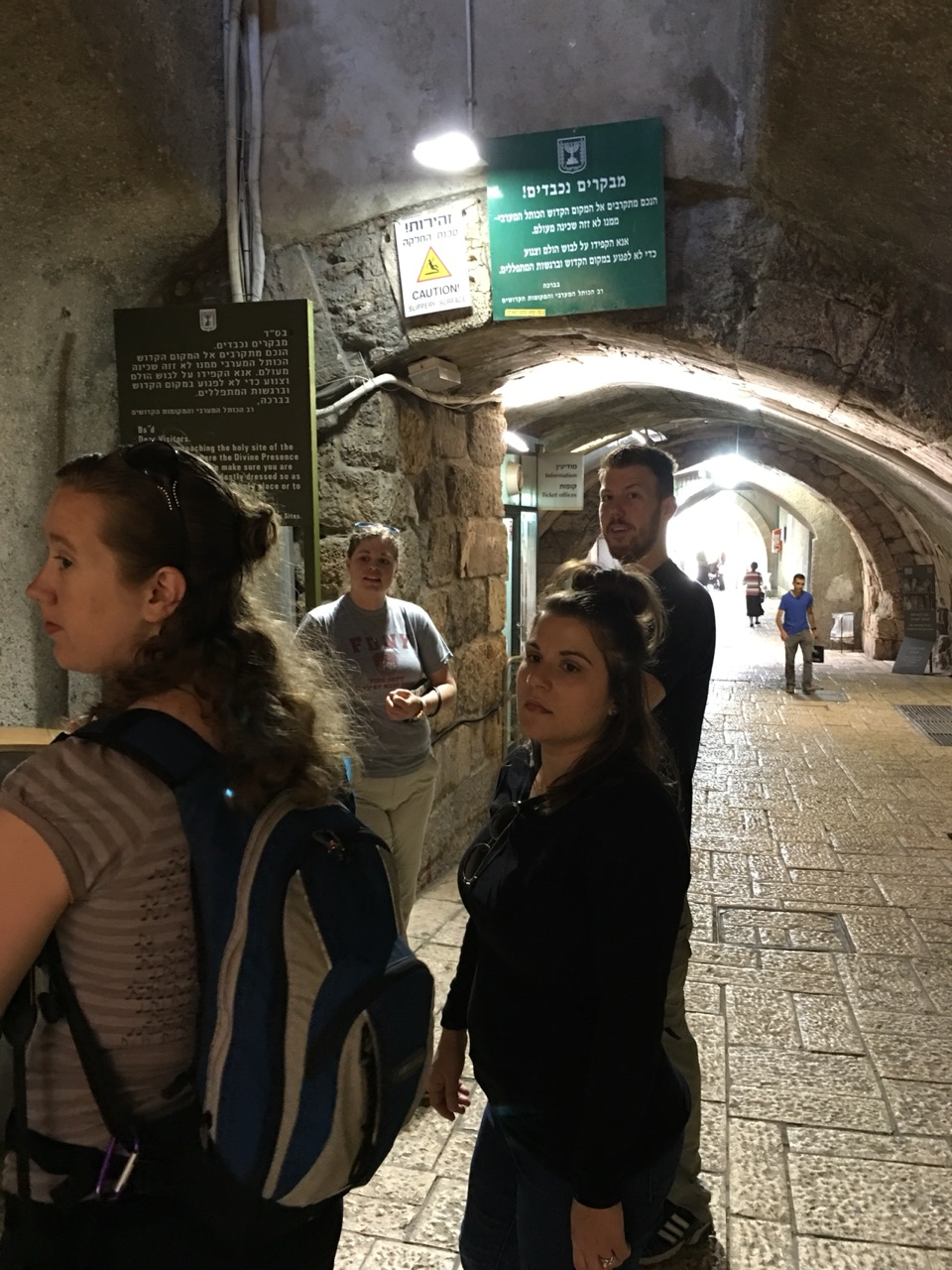 Through security to reach the Western Wall