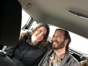 Michael and Lauren in the back of the car