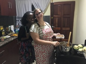 Lena and Juliana in the kitchen.