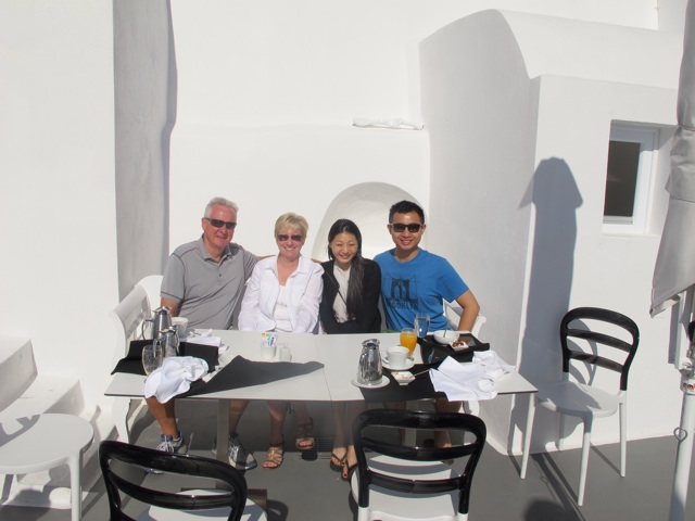 Last breakfast in Oia with Billy and Veronica