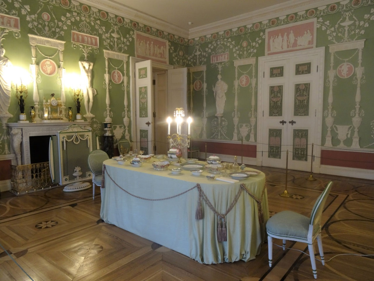 Neo-Classicist Green Dining Room