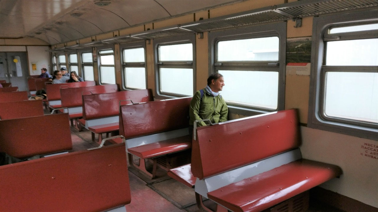 Soviet era local suburban train to the village
