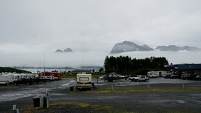 view from RV -  Rainy Cloudy days in Valdez