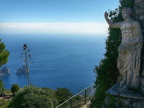On Capri- famous Blue Grotto down below (rock