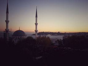 whole lotta mosques at dusk