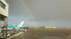 Rainbow from the Schipol Airport in Amsterdam