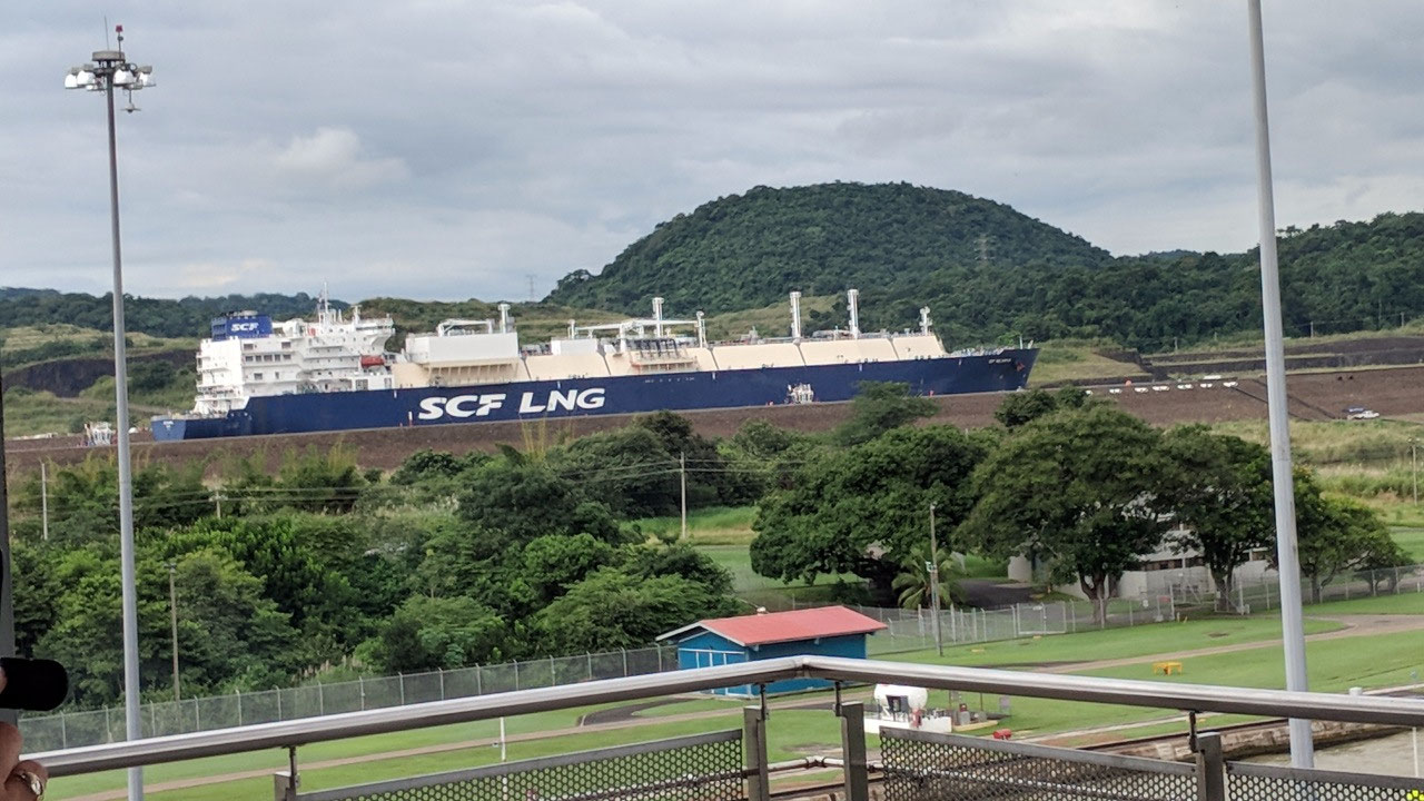Ship going through wider canal