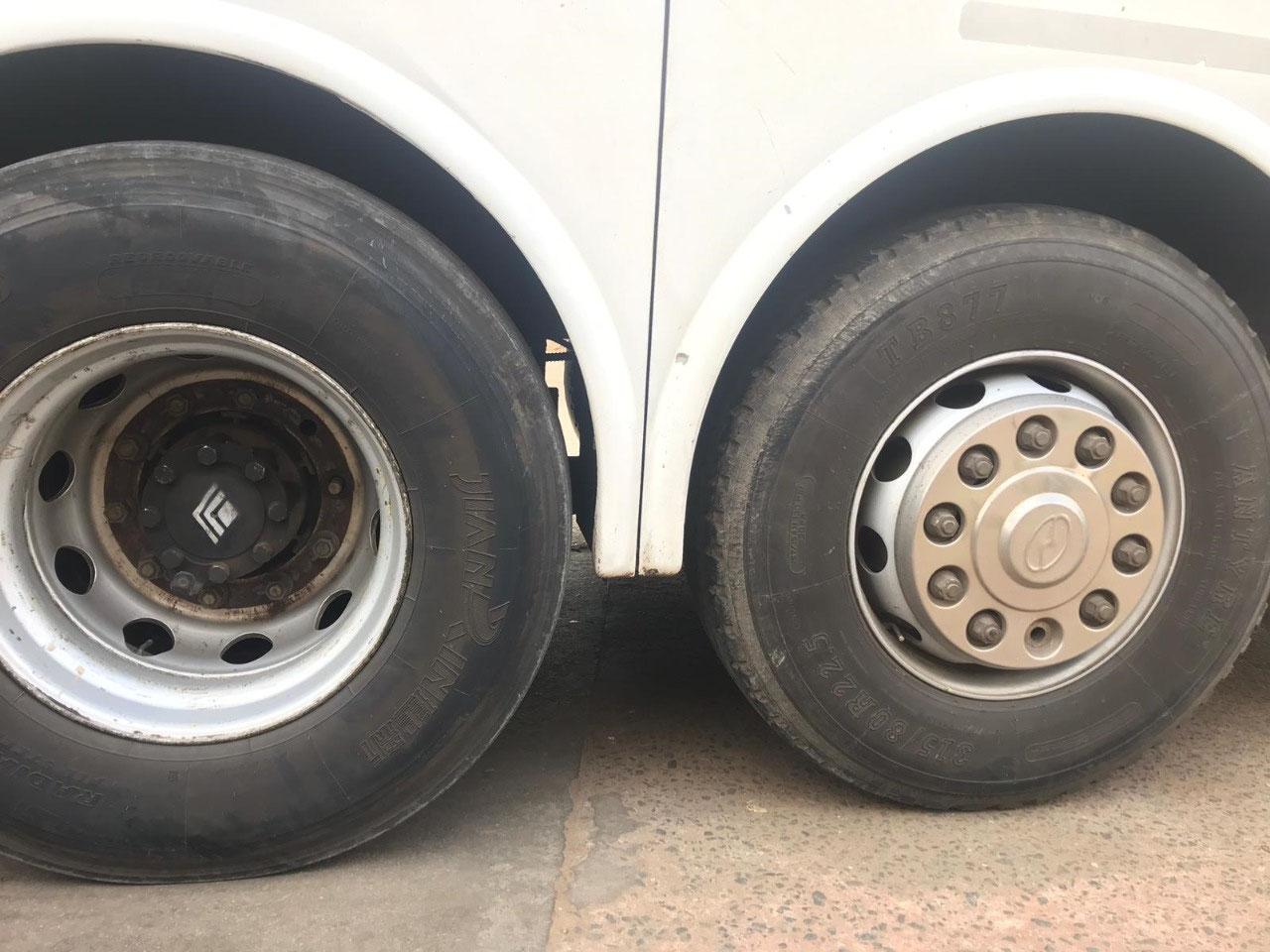 Missing lug nut (right) on bus