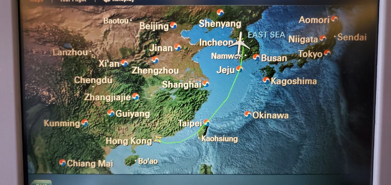 Route from Hong Kong to Seoul, South Korea
