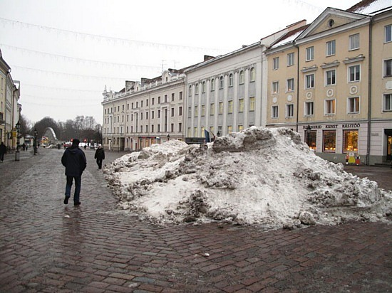 Snow piled in City Square