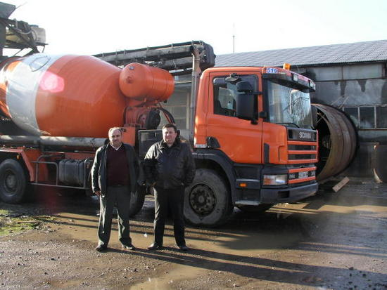 Ivan and Yura in front of cement truck