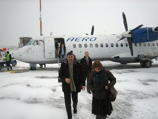 Coming off small plane from Tallinn to Helsink