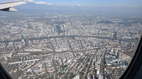 Spectacular view of Frankfurt as we land