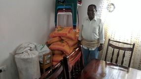 Jonathan Litaba with seed fertilizer