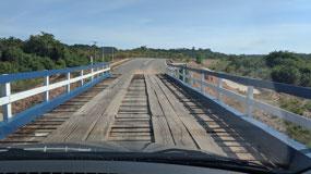One of the rickety bridges