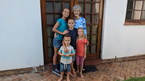 Bev with Tahlia, Ethan, Daniel and Kaylee