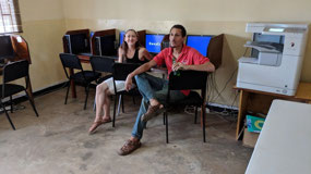 Brennan and Michala at Internet cafe