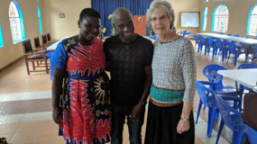 Bev with Chifundo and Kate Njewa