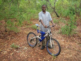 Student Bervin with bike