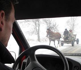 Oncoming traffic in Vinogradov