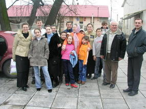 Group shot outside the dining hall