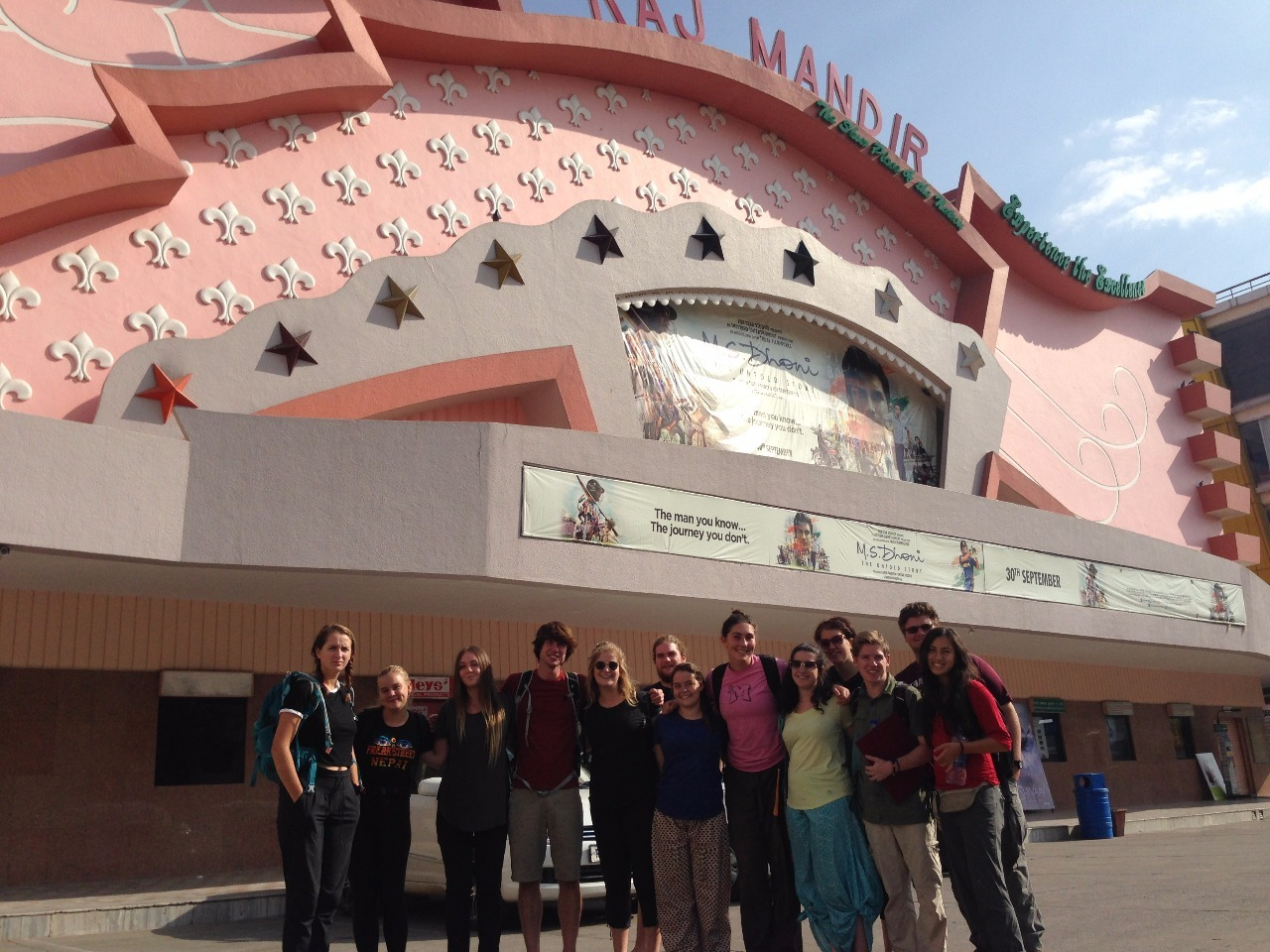 The team before seeing a Bollywood film in Jaipur.
