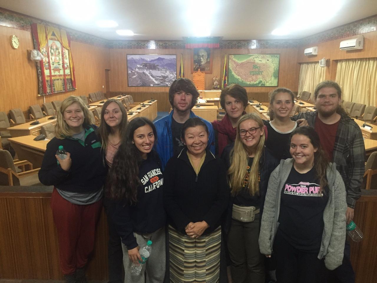 YI team members with Tibetan member of parliament.