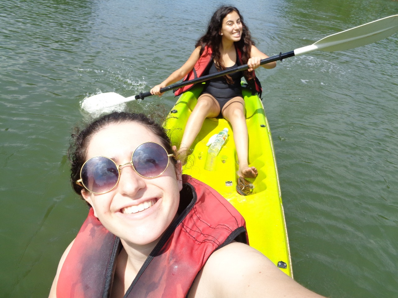 Oriana and Maya kayaking.