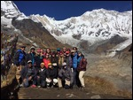 The team victoriously reaches Annapurna Base Camp!