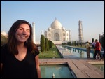 Juliet, all smiles at the Taj.