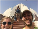 Kippy and Tim at the Lotus Temple in Delhi.