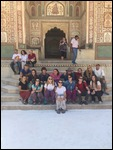 The whole team outside the Amber Fort.
